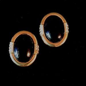 Rare Givenchy Earrings Black Lucite Gold Trim